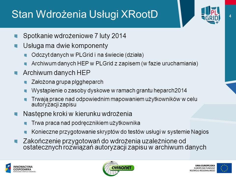 Stan Wdrożenia Usługi XRootD Spotkanie wdrożeniowe 7 luty 2014 Usługa ma dwie komponenty Odczyt danych w PLGrid i na świecie (działa) Archiwum danych