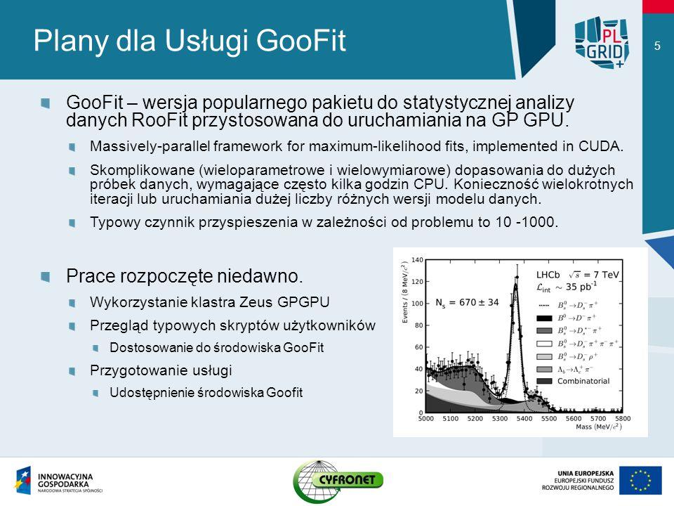 Plany dla Usługi GooFit GooFit – wersja popularnego pakietu do statystycznej analizy danych RooFit przystosowana do uruchamiania na GP GPU. Massively-