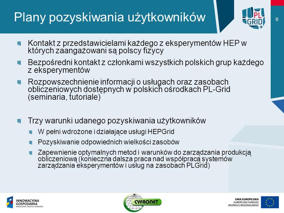 Plany pozyskiwania użytkowników Kontakt z przedstawicielami każdego z eksperymentów HEP w których zaangażowani są polscy fizycy Bezpośredni kontakt z członkami wszystkich polskich grup każdego z eksperymentów Rozpowszechnienie informacji o usługach oraz zasobach obliczeniowych dostępnych w polskich ośrodkach PL-Grid (seminaria, tutoriale) Trzy warunki udanego pozyskiwania użytkowników W pełni wdrożone i działające usługi HEPGrid Pozyskiwanie odpowiednich wielkości zasobów Zapewnienie optymalnych metod i warunków do zarządzania produkcją obliczeniową (konieczna dalsza praca nad współpracą systemów zarządzania eksperymentów i usług na zasobach PLGrid) 6