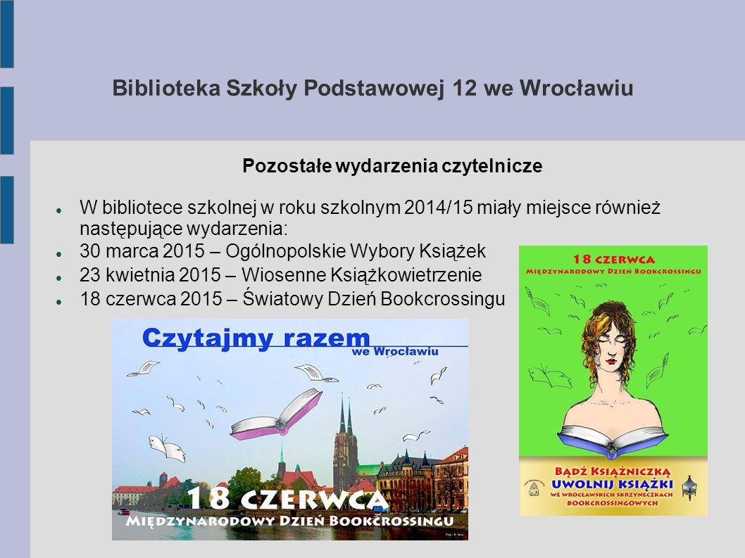 Biblioteka Szkoły Podstawowej 12 we Wrocławiu Pozostałe wydarzenia czytelnicze W bibliotece szkolnej w roku szkolnym 2014/15 miały miejsce również następujące wydarzenia: 30 marca 2015 – Ogólnopolskie Wybory Książek 23 kwietnia 2015 – Wiosenne Książkowietrzenie 18 czerwca 2015 – Światowy Dzień Bookcrossingu
