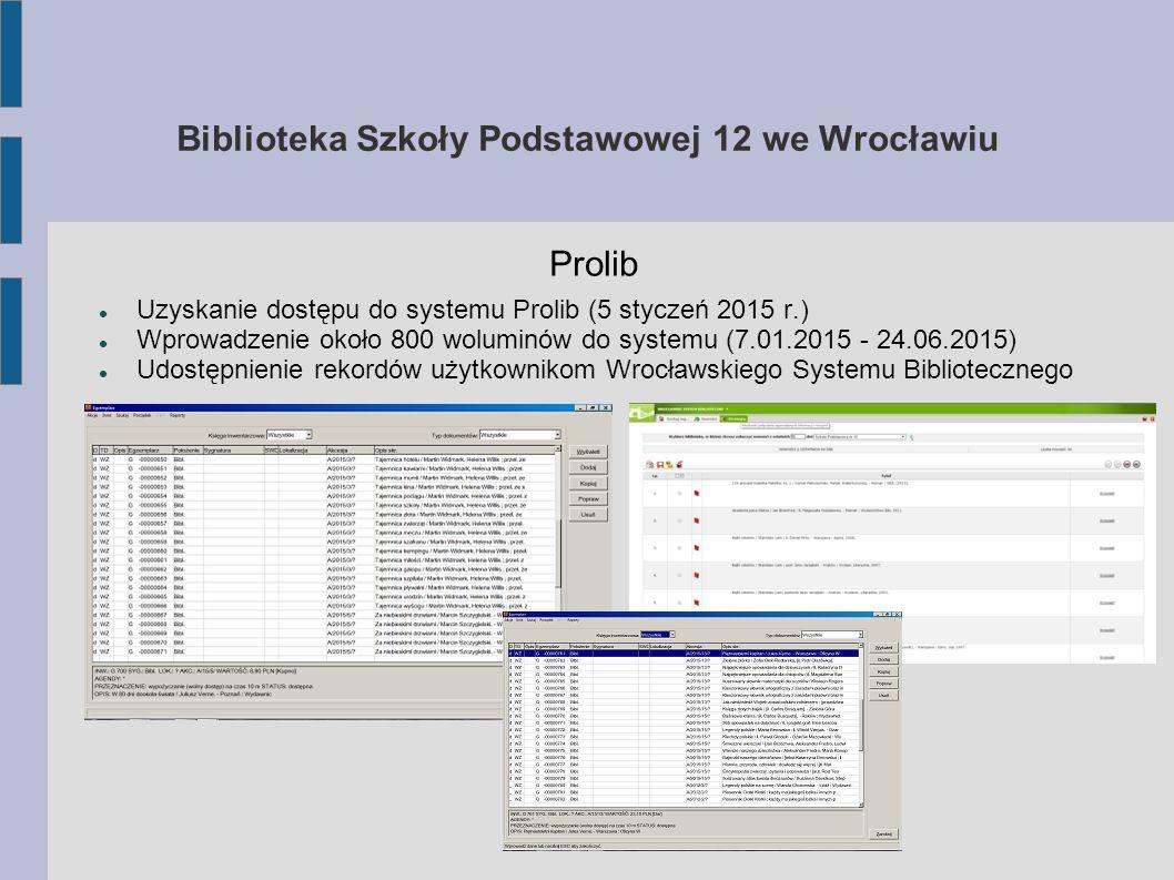 """Biblioteka Szkoły Podstawowej 12 we Wrocławiu """"Zapaleni czytelnicy roku 2014/2015 klas IV – VI kl."""