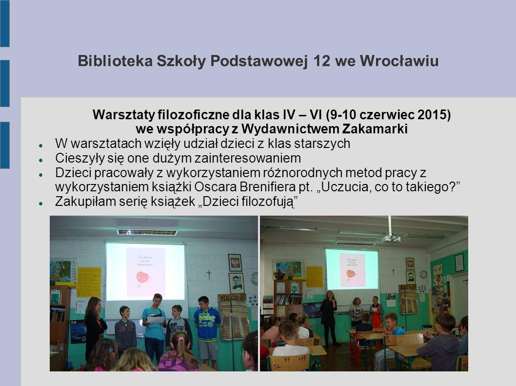 Biblioteka Szkoły Podstawowej 12 we Wrocławiu Konkurs czytelniczo – medialny dla klas I – VI Odbywał się cyklicznie Zrealizowany w chmurze przy pomocy Google Forms Dzieci odpowiadały na pytania przez stronę internetową, do której dostęp był również możliwy za pomocą kodu QR Odpowiedzi zapisywane były w arkuszu kalkulacyjnym w chmurze Królową konkursu została Martyna Baranek z kl.