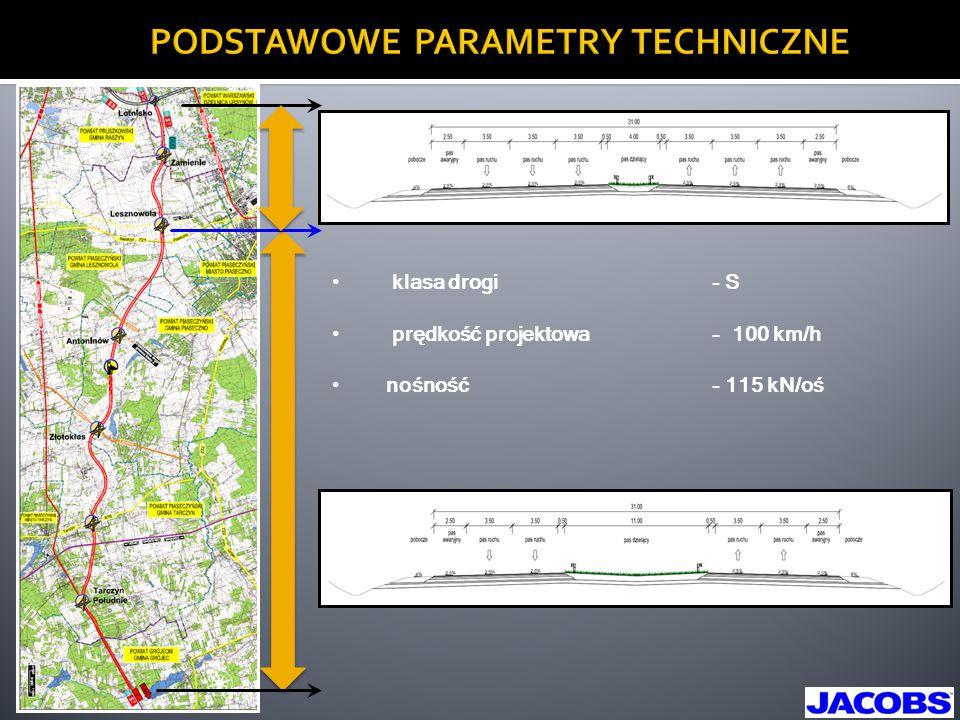 PODSTAWOWE PARAMETRY TECHNICZNE klasa drogi- S prędkość projektowa- 100 km/h nośność- 115 kN/oś
