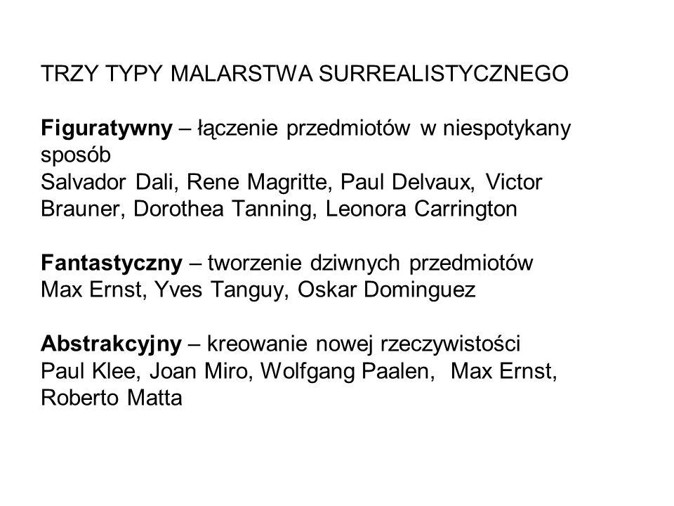 TRZY TYPY MALARSTWA SURREALISTYCZNEGO Figuratywny – łączenie przedmiotów w niespotykany sposób Salvador Dali, Rene Magritte, Paul Delvaux, Victor Brau