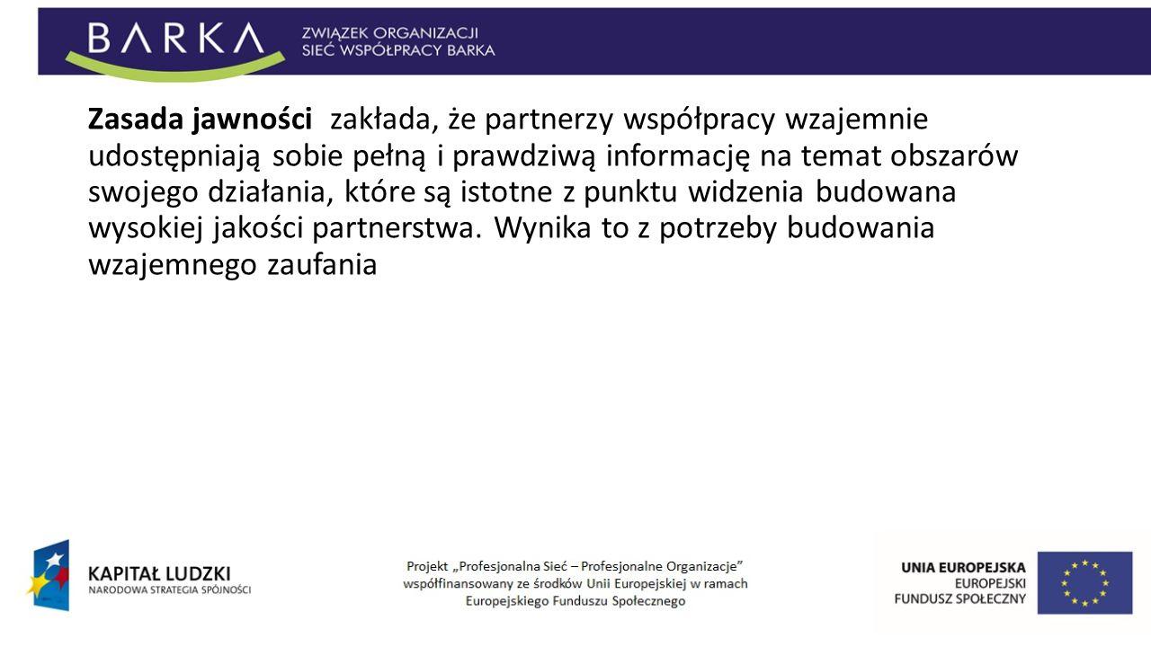Zasada jawności zakłada, że partnerzy współpracy wzajemnie udostępniają sobie pełną i prawdziwą informację na temat obszarów swojego działania, które