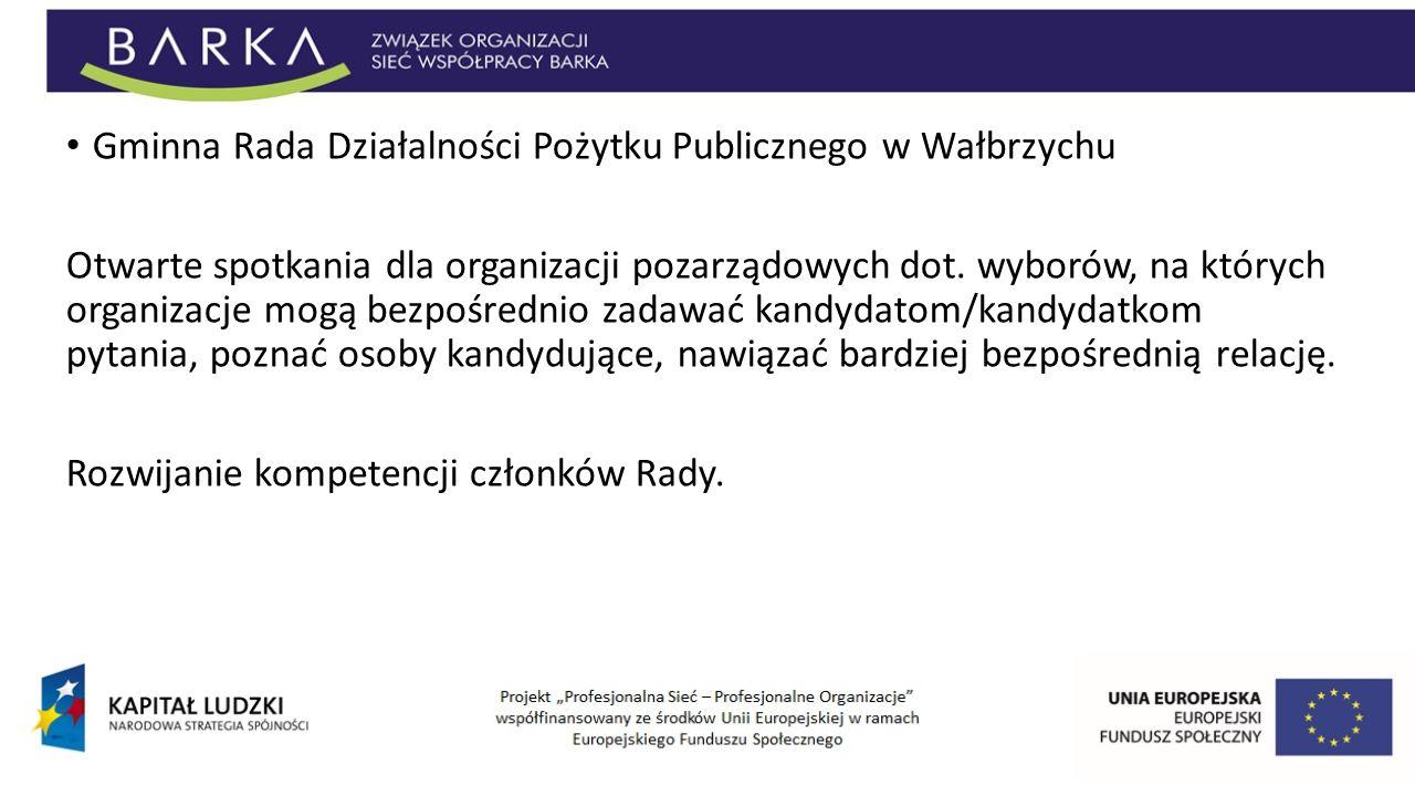 Gminna Rada Działalności Pożytku Publicznego w Wałbrzychu Otwarte spotkania dla organizacji pozarządowych dot. wyborów, na których organizacje mogą be