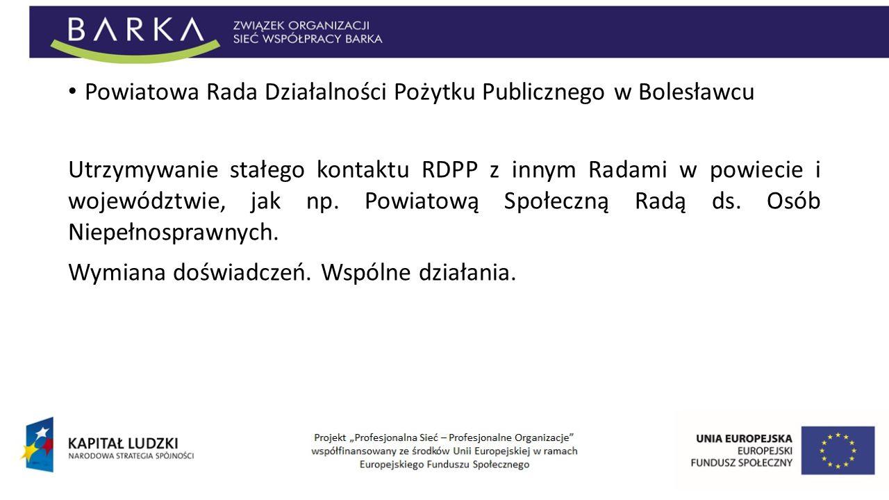 Powiatowa Rada Działalności Pożytku Publicznego w Bolesławcu Utrzymywanie stałego kontaktu RDPP z innym Radami w powiecie i województwie, jak np. Powi
