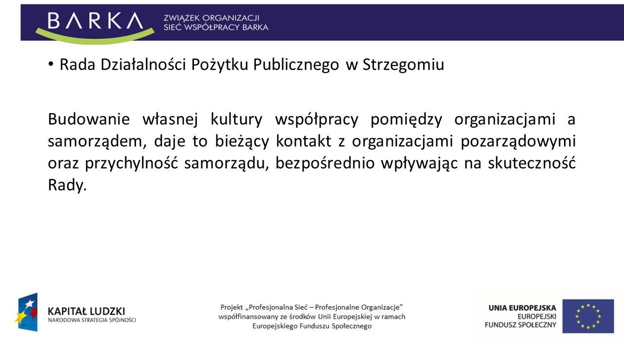 Rada Działalności Pożytku Publicznego w Strzegomiu Budowanie własnej kultury współpracy pomiędzy organizacjami a samorządem, daje to bieżący kontakt z