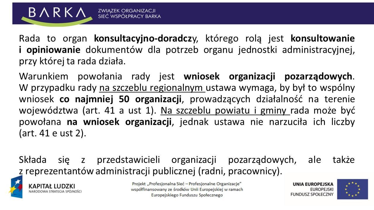 Rada to organ konsultacyjno-doradczy, którego rolą jest konsultowanie i opiniowanie dokumentów dla potrzeb organu jednostki administracyjnej, przy któ