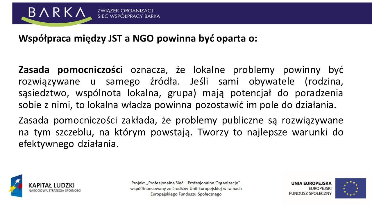 Współpraca między JST a NGO powinna być oparta o: Zasada pomocniczości oznacza, że lokalne problemy powinny być rozwiązywane u samego źródła. Jeśli sa