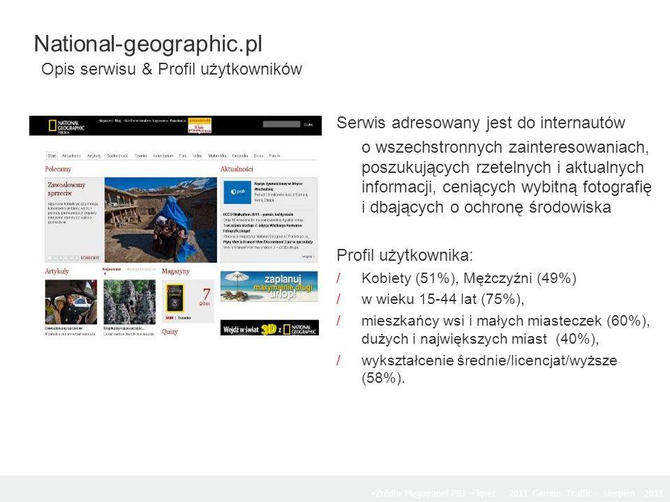 Serwis adresowany jest do internautów o wszechstronnych zainteresowaniach, poszukujących rzetelnych i aktualnych informacji, ceniących wybitną fotografię i dbających o ochronę środowiska Profil użytkownika: /Kobiety (51%), Mężczyźni (49%) /w wieku 15-44 lat (75%), /mieszkańcy wsi i małych miasteczek (60%), dużych i największych miast (40%), /wykształcenie średnie/licencjat/wyższe (58%).