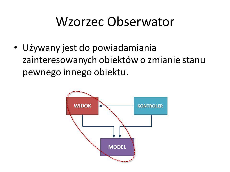 Wzorzec Obserwator Używany jest do powiadamiania zainteresowanych obiektów o zmianie stanu pewnego innego obiektu. WIDOKKONTROLER MODEL