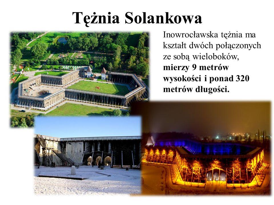 Tężnia Solankowa Inowrocławska tężnia ma kształt dwóch połączonych ze sobą wieloboków, mierzy 9 metrów wysokości i ponad 320 metrów długości.