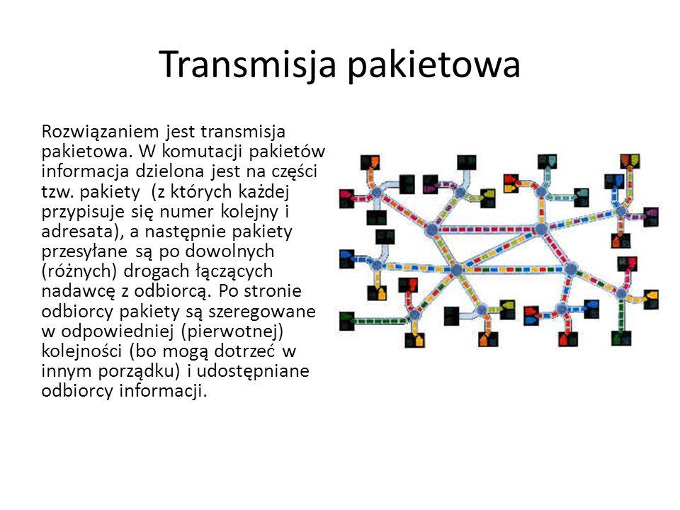 Transmisja pakietowa Rozwiązaniem jest transmisja pakietowa. W komutacji pakietów informacja dzielona jest na części tzw. pakiety (z których każdej pr