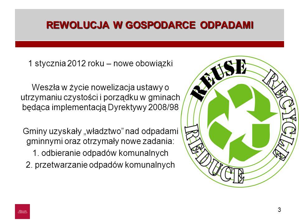 3 REWOLUCJA W GOSPODARCE ODPADAMI 1 stycznia 2012 roku – nowe obowiązki Weszła w życie nowelizacja ustawy o utrzymaniu czystości i porządku w gminach