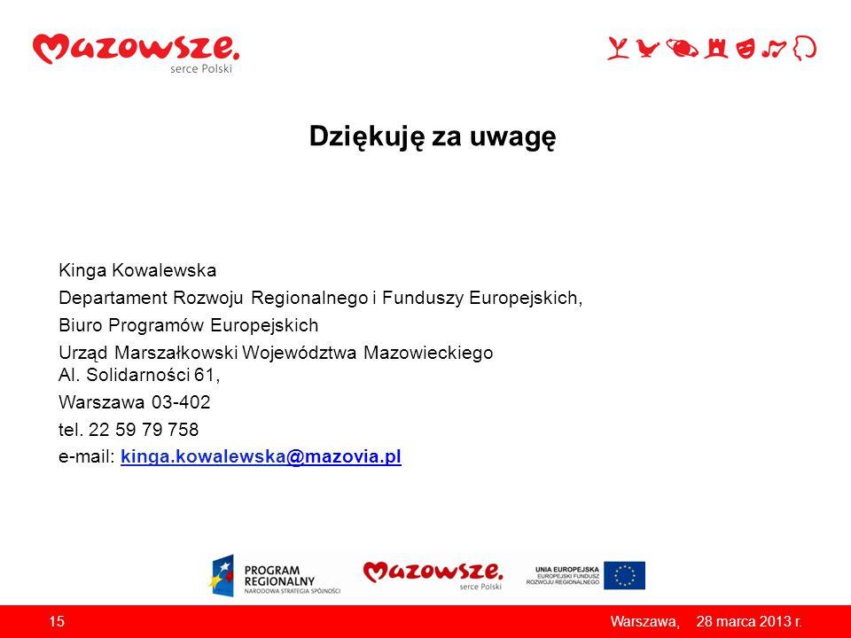 Dziękuję za uwagę Kinga Kowalewska Departament Rozwoju Regionalnego i Funduszy Europejskich, Biuro Programów Europejskich Urząd Marszałkowski Wojewódz
