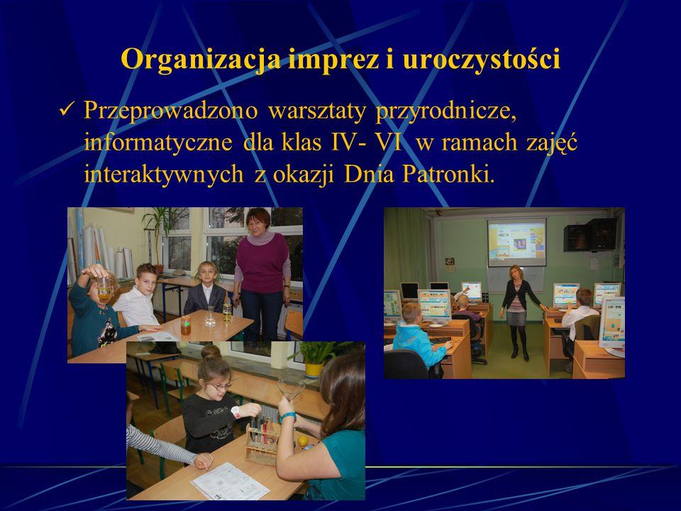 Organizacja imprez i uroczystości Przeprowadzono warsztaty przyrodnicze, informatyczne dla klas IV- VI w ramach zajęć interaktywnych z okazji Dnia Pat