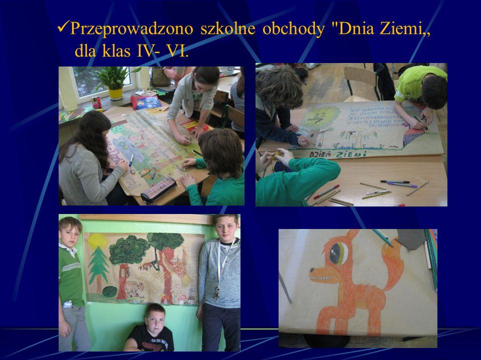 """Przeprowadzono szkolne obchody Dnia Ziemi"""" dla klas IV- VI."""