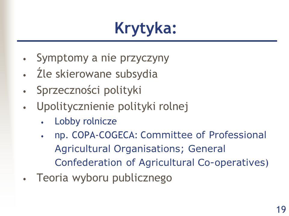 19 Krytyka: Symptomy a nie przyczyny Źle skierowane subsydia Sprzeczności polityki Upolitycznienie polityki rolnej Lobby rolnicze np.