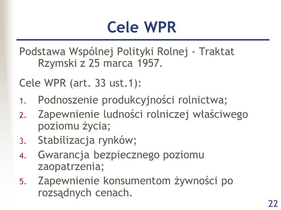 22 Cele WPR Podstawa Wspólnej Polityki Rolnej - Traktat Rzymski z 25 marca 1957.