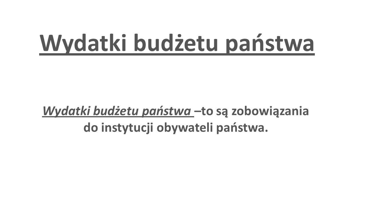 Wydatki budżetu państwa Wydatki budżetu państwa –to są zobowiązania do instytucji obywateli państwa.
