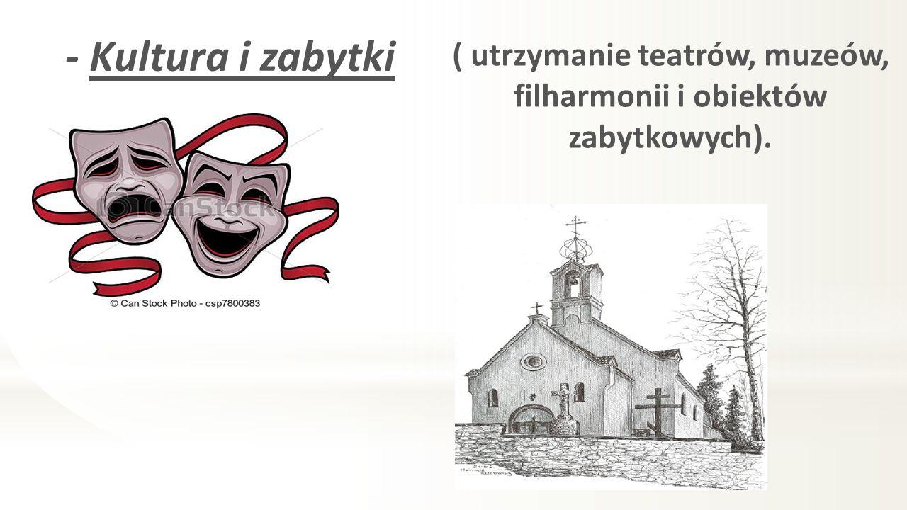 - Kultura i zabytki ( utrzymanie teatrów, muzeów, filharmonii i obiektów zabytkowych).
