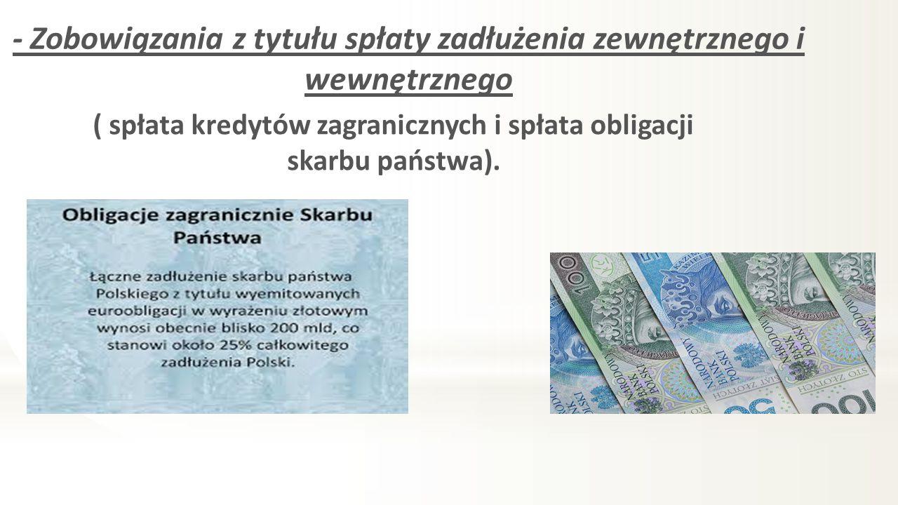 - Zobowiązania z tytułu spłaty zadłużenia zewnętrznego i wewnętrznego ( spłata kredytów zagranicznych i spłata obligacji skarbu państwa).
