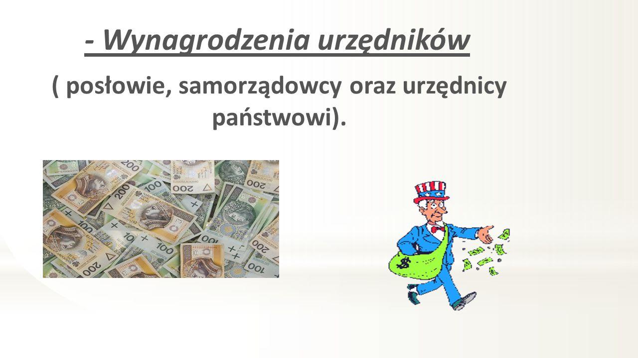 - Wynagrodzenia urzędników ( posłowie, samorządowcy oraz urzędnicy państwowi).