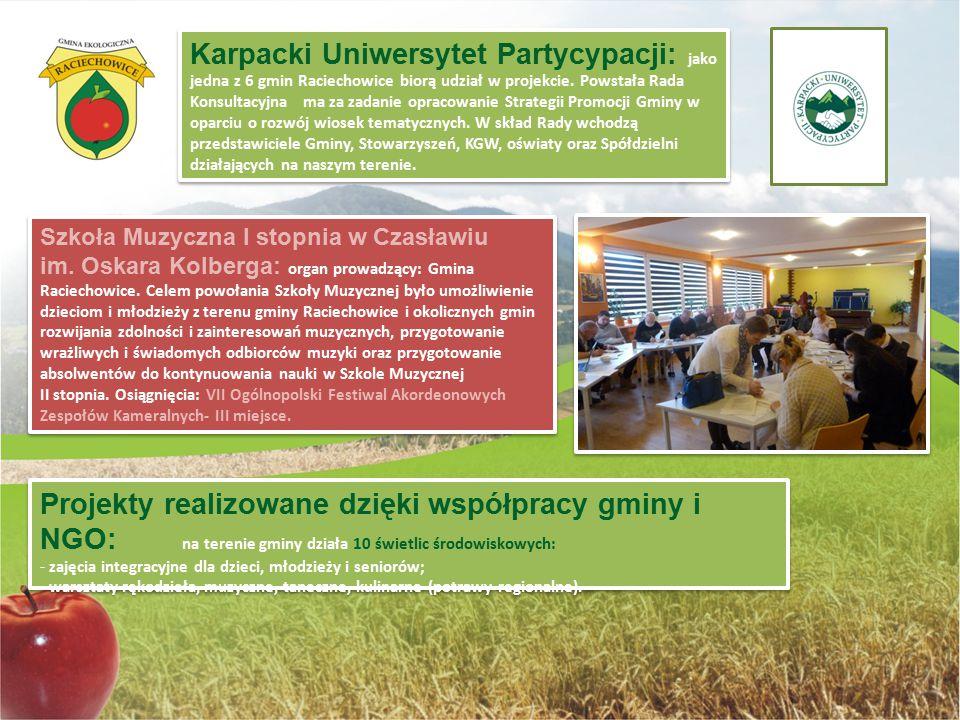 Karpacki Uniwersytet Partycypacji: jako jedna z 6 gmin Raciechowice biorą udział w projekcie. Powstała Rada Konsultacyjna ma za zadanie opracowanie St