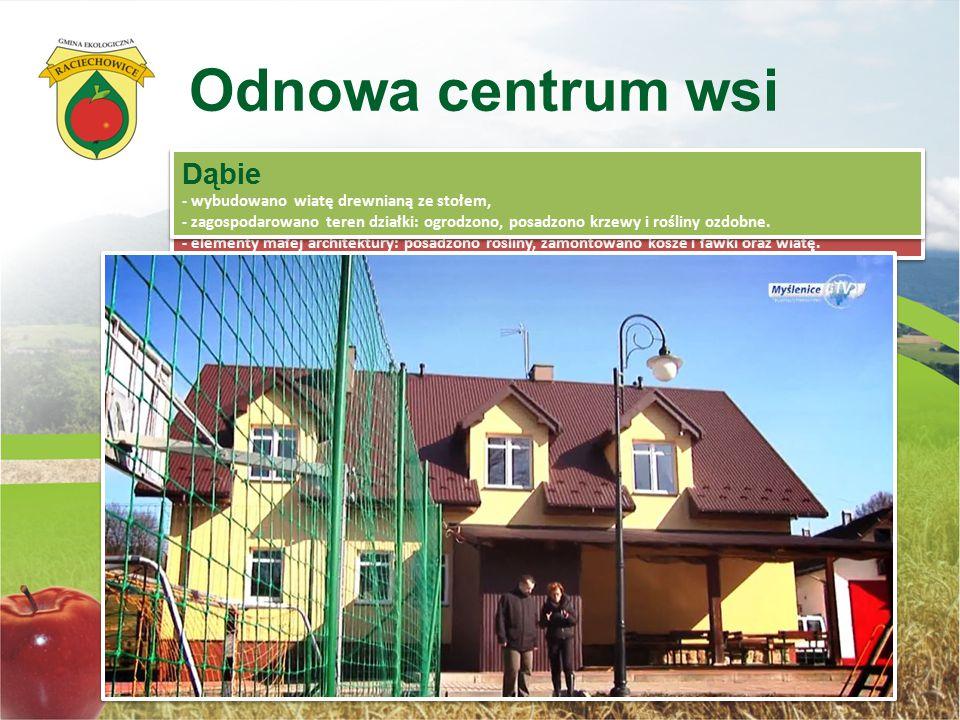 Odnowa centrum wsi Kwapinka - wykonano niwelację i ogrodzenie terenu, zamontowano oświetlenie, - wybudowano otwarty teren rekreacji z boiskiem wielofu