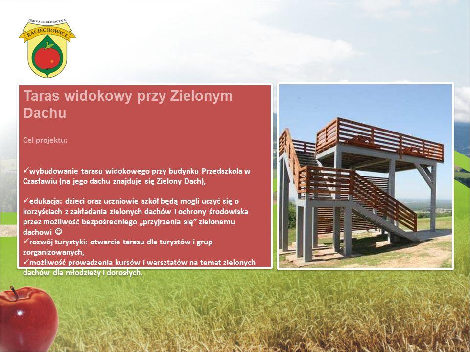 Taras widokowy przy Zielonym Dachu Cel projektu: wybudowanie tarasu widokowego przy budynku Przedszkola w Czasławiu (na jego dachu znajduje się Zielon