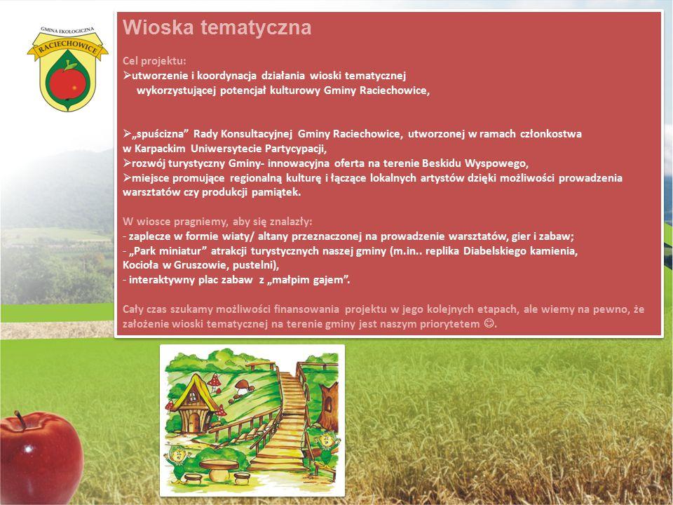 """Wioska tematyczna Cel projektu:  utworzenie i koordynacja działania wioski tematycznej wykorzystującej potencjał kulturowy Gminy Raciechowice,  """"spu"""