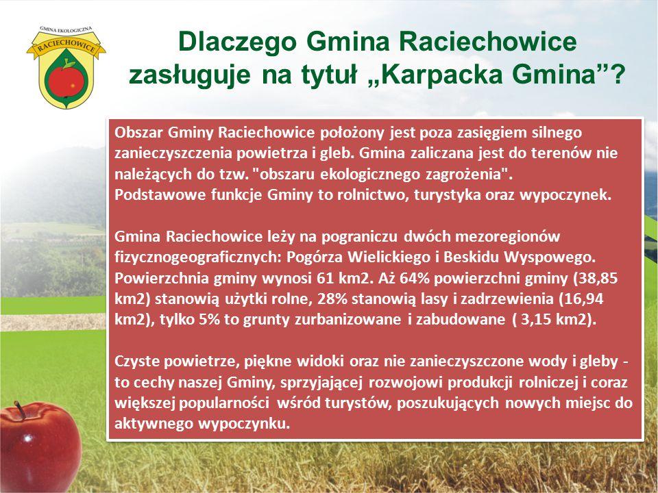 Obszar Gminy Raciechowice położony jest poza zasięgiem silnego zanieczyszczenia powietrza i gleb. Gmina zaliczana jest do terenów nie należących do tz