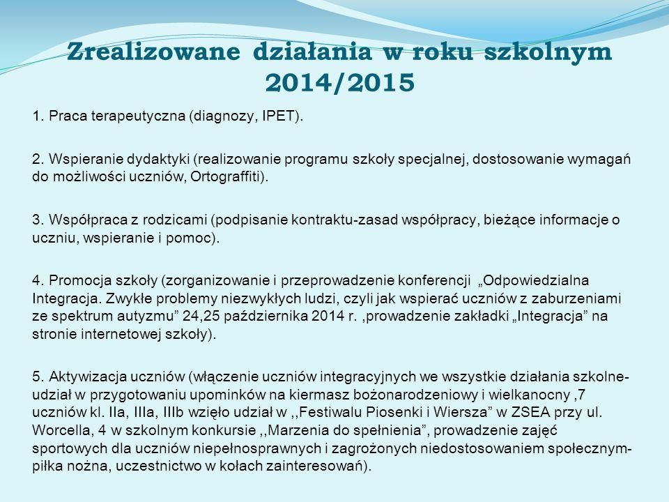 Zrealizowane działania w roku szkolnym 2014/2015 1. Praca terapeutyczna (diagnozy, IPET). 2. Wspieranie dydaktyki (realizowanie programu szkoły specja