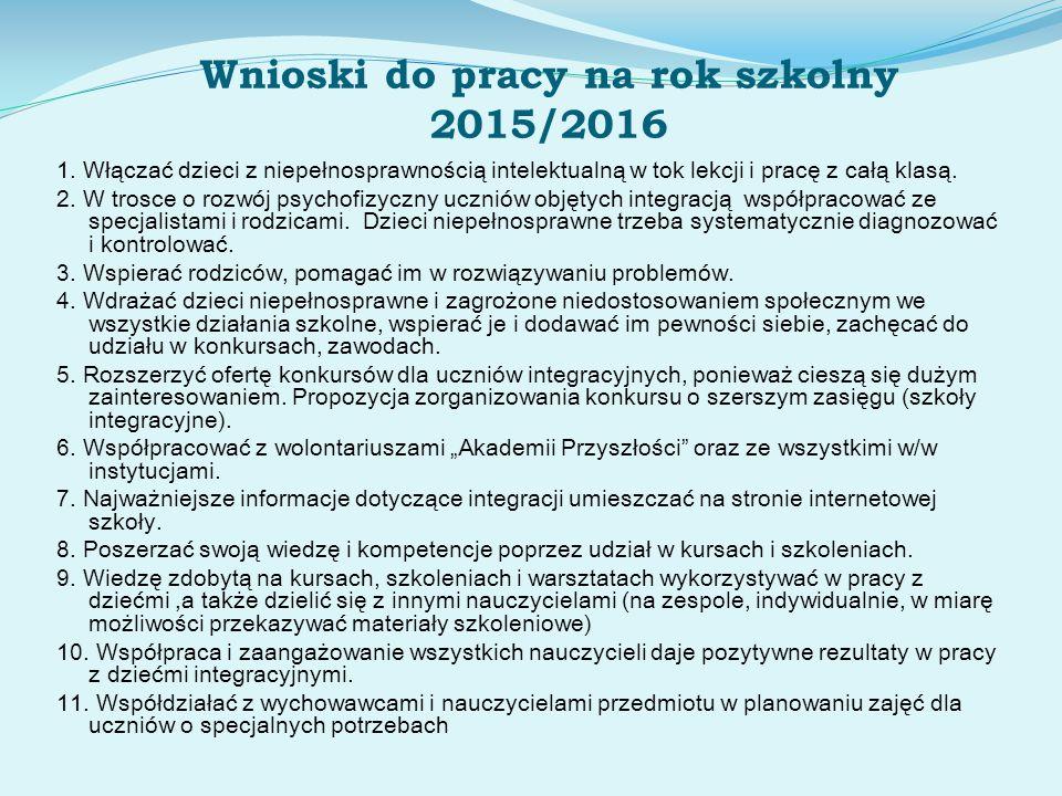 Wnioski do pracy na rok szkolny 2015/2016 1. Włączać dzieci z niepełnosprawnością intelektualną w tok lekcji i pracę z całą klasą. 2. W trosce o rozwó
