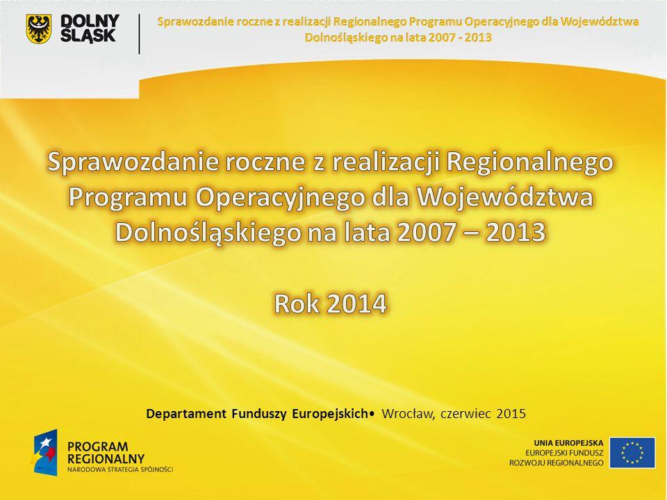 Priorytet 10 Pomoc Techniczna Realizacja zobowiązań UE w ramach RPO WD (w EUR) Stan na: % alokacji z EFRR według stanu na dzień 31.12.2014 r.