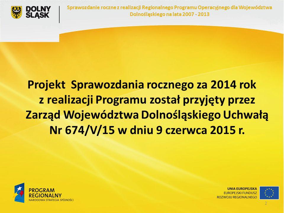 Projekt Sprawozdania rocznego za 2014 rok z realizacji Programu został przyjęty przez Zarząd Województwa Dolnośląskiego Uchwałą Nr 674/V/15 w dniu 9 c