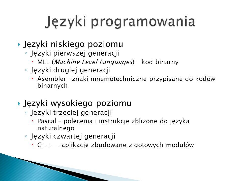 Języki niskiego poziomu ◦ Języki pierwszej generacji  MLL (Machine Level Languages) – kod binarny ◦ Języki drugiej generacji  Asembler –znaki mnemotechniczne przypisane do kodów binarnych  Języki wysokiego poziomu ◦ Języki trzeciej generacji  Pascal – polecenia i instrukcje zbliżone do języka naturalnego ◦ Języki czwartej generacji  C++ - aplikacje zbudowane z gotowych modułów