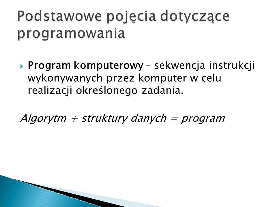  Program komputerowy – sekwencja instrukcji wykonywanych przez komputer w celu realizacji określonego zadania.