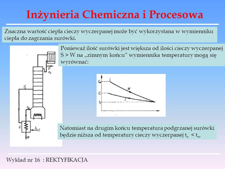 Inżynieria Chemiczna i Procesowa Wykład nr 16 : REKTYFIKACJA Znaczna wartość ciepła cieczy wyczerpanej może być wykorzystana w wymienniku ciepła do za