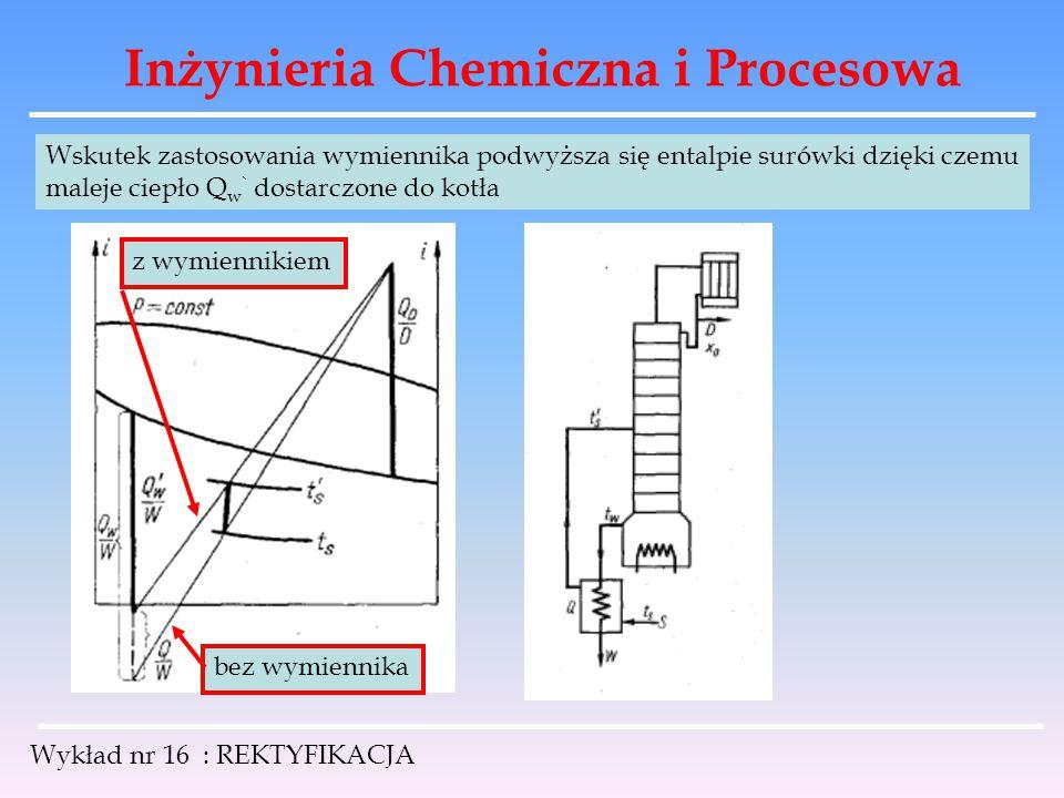 Inżynieria Chemiczna i Procesowa Wykład nr 16 : REKTYFIKACJA Wskutek zastosowania wymiennika podwyższa się entalpie surówki dzięki czemu maleje ciepło