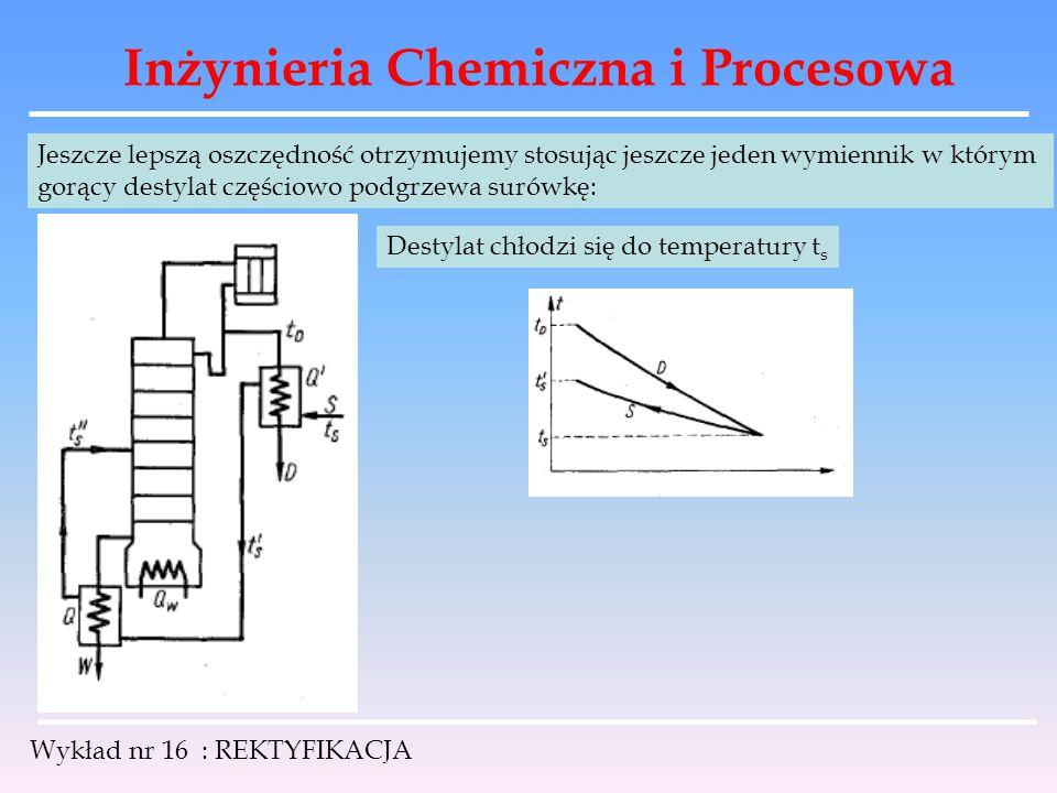 Inżynieria Chemiczna i Procesowa Wykład nr 16 : REKTYFIKACJA Jeszcze lepszą oszczędność otrzymujemy stosując jeszcze jeden wymiennik w którym gorący d