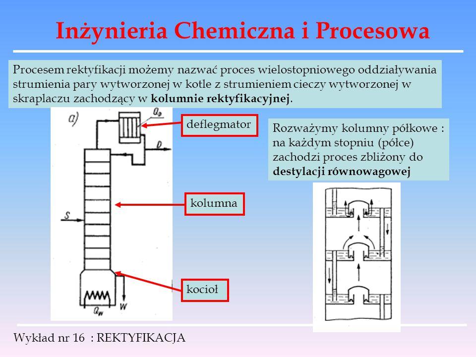 Inżynieria Chemiczna i Procesowa Wykład nr 16 : REKTYFIKACJA Procesem rektyfikacji możemy nazwać proces wielostopniowego oddziaływania strumienia pary
