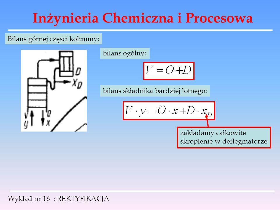 Inżynieria Chemiczna i Procesowa Wykład nr 16 : REKTYFIKACJA Bilans górnej części kolumny: bilans ogólny: bilans składnika bardziej lotnego: zakładamy