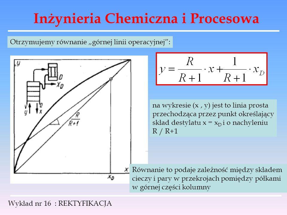 """Inżynieria Chemiczna i Procesowa Wykład nr 16 : REKTYFIKACJA Otrzymujemy równanie """"górnej linii operacyjnej"""": na wykresie (x, y) jest to linia prosta"""