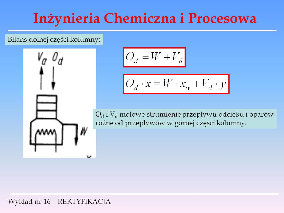 Inżynieria Chemiczna i Procesowa Wykład nr 16 : REKTYFIKACJA Bilans dolnej części kolumny: O d i V d molowe strumienie przepływu odcieku i oparów różn