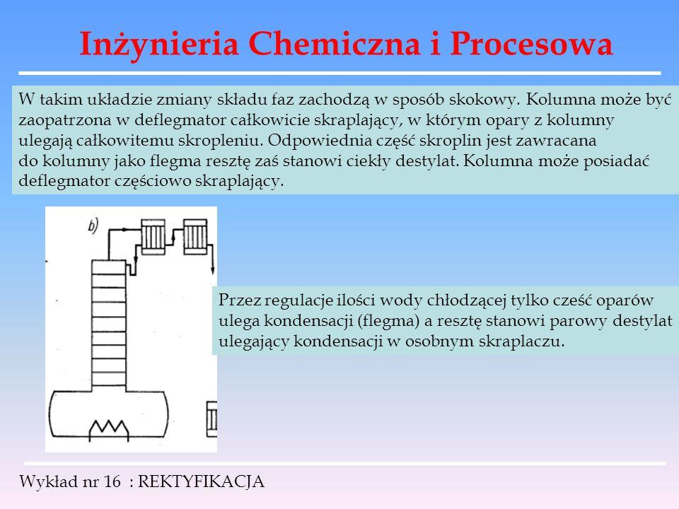 Inżynieria Chemiczna i Procesowa Wykład nr 16 : REKTYFIKACJA W takim układzie zmiany składu faz zachodzą w sposób skokowy. Kolumna może być zaopatrzon