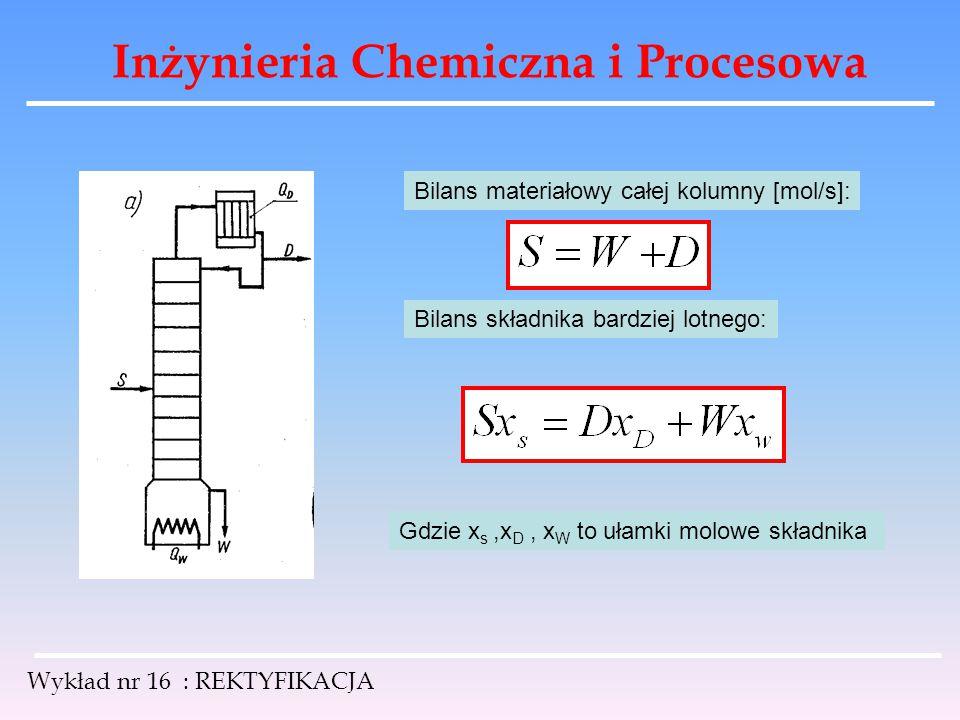 Inżynieria Chemiczna i Procesowa Wykład nr 16 : REKTYFIKACJA Bilans materiałowy całej kolumny [mol/s]: Bilans składnika bardziej lotnego: Gdzie x s,x