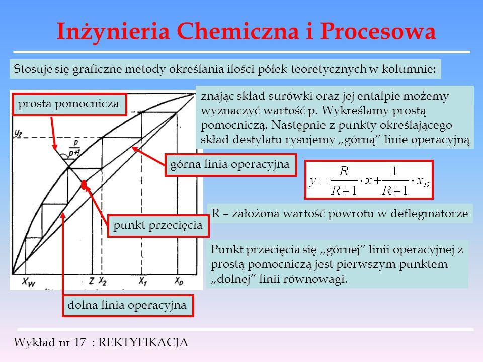 Inżynieria Chemiczna i Procesowa Wykład nr 17 : REKTYFIKACJA Stosuje się graficzne metody określania ilości półek teoretycznych w kolumnie: znając skł