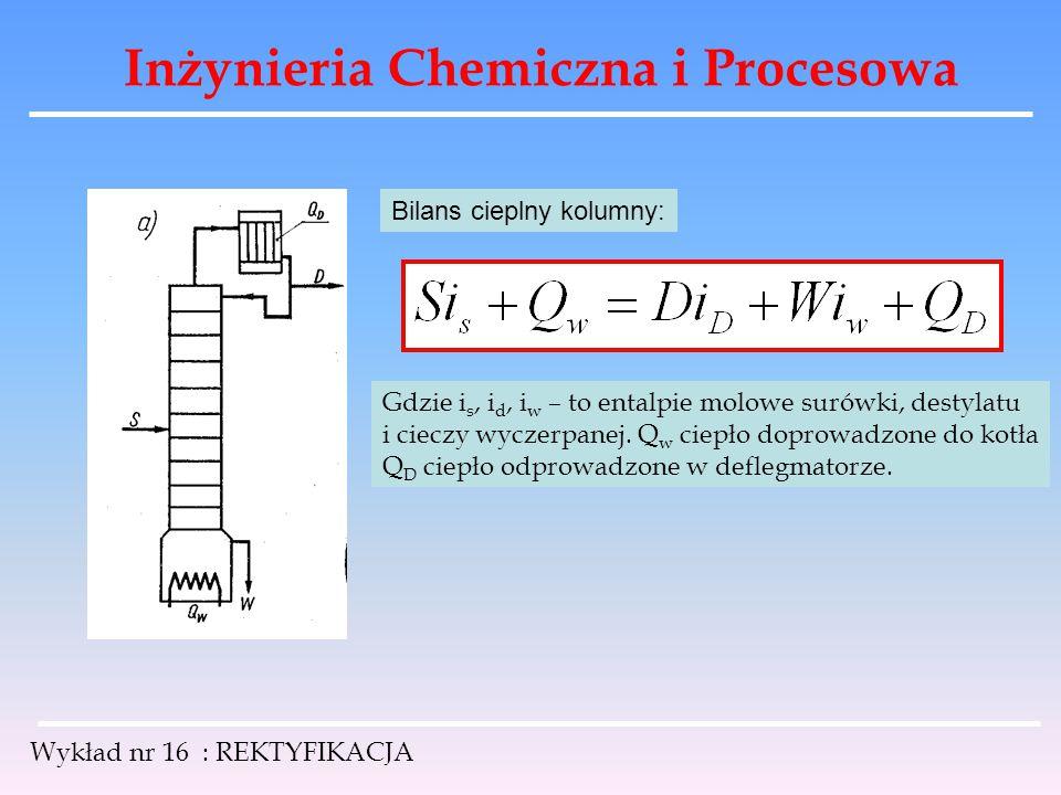 Inżynieria Chemiczna i Procesowa Wykład nr 16 : REKTYFIKACJA Bilans cieplny kolumny: Gdzie i s, i d, i w – to entalpie molowe surówki, destylatu i cie